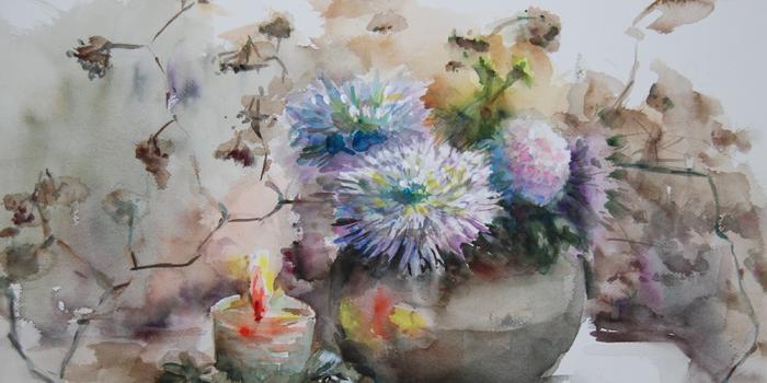 佐藤弓子のキャンドルと菊